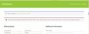 WooCommerce MPESA Gateway - Invalid Transaction